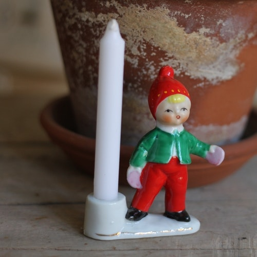 Tomte - Porslinstomte Ljusstake