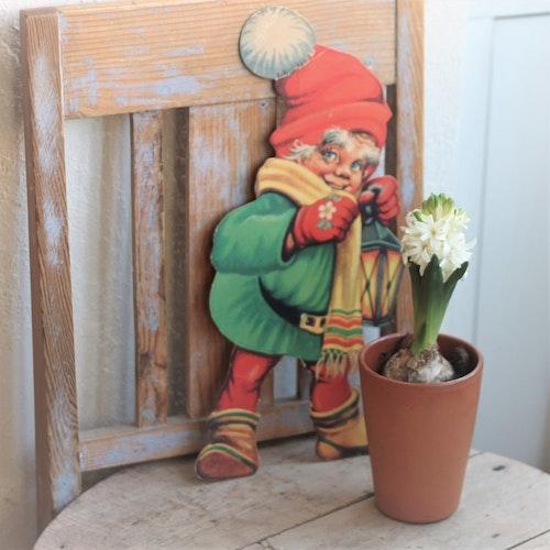 Tomte - Pappfigur i Grön Rock och med Lykta