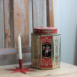 Plåtburk - Kaffeburk Röd Svart Guld