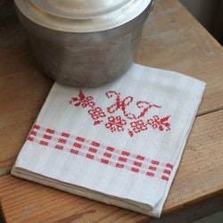 Handduk - Linne Monogram HT Röd