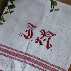 Handduk - Linne Monogram Röd