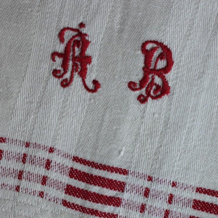 Handduk - Linne Monogram ÅB Röd