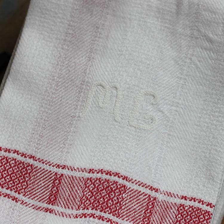 Handduk - Linne Monogram ML Röd