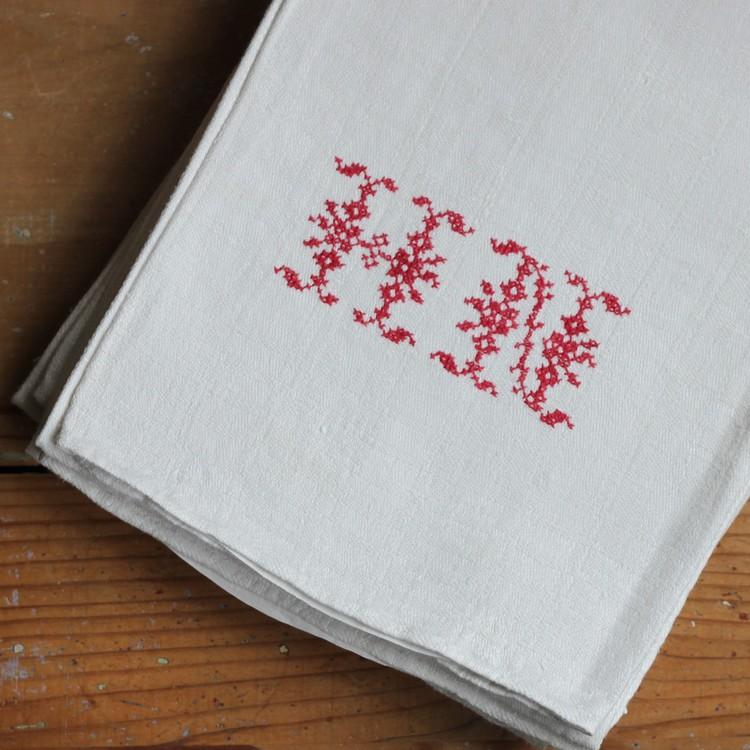 Handduk - Linne Monogram HN Röd