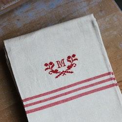 Handduk - Linne Monogram M Röd