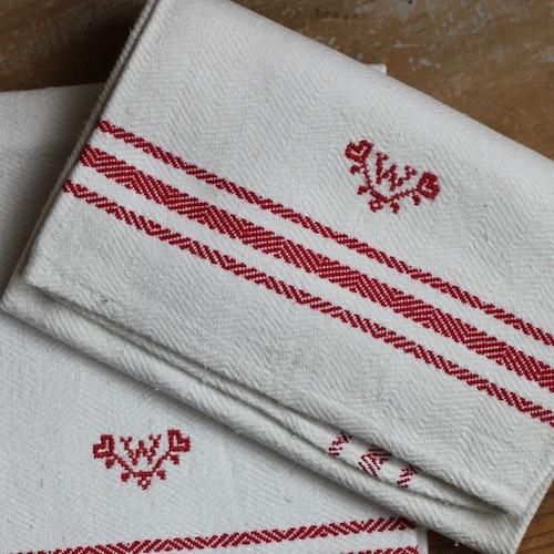 Handduk - Linne - Monogram W Röd