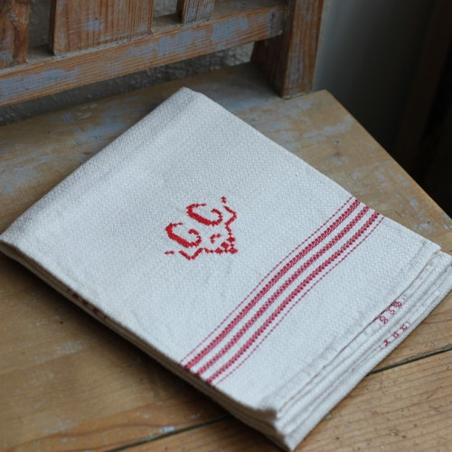 Handduk - Linne Monogram GG Röd