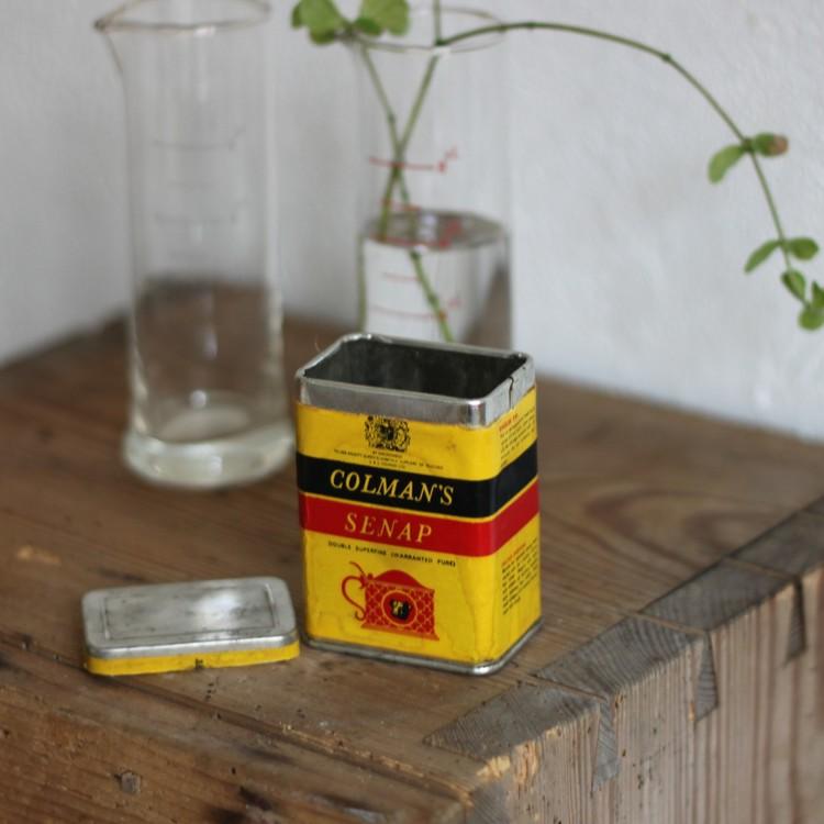 Plåtburk - Liten Gul med pappersetikett