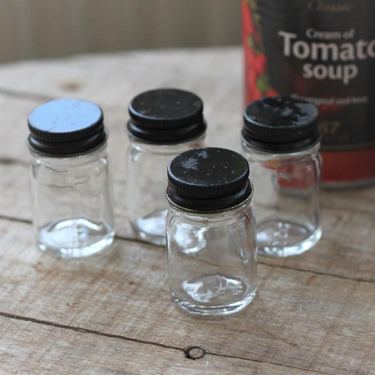 Glasburk - Förvaring mini med svart lock
