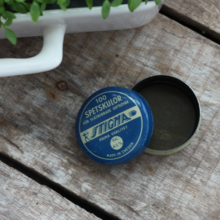 Plåtburk - Blå Vaniljvit liten