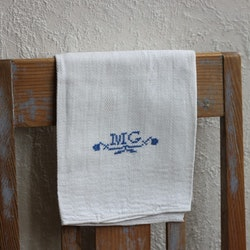 Handduk - Linne Monogram MG Blå
