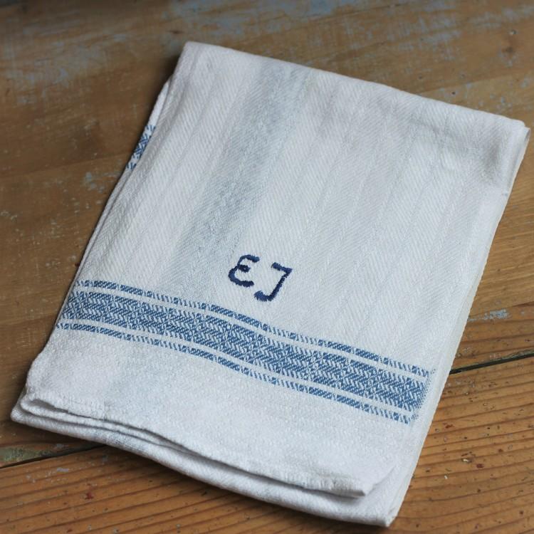 Handduk - Linne Monogram EJ Blå