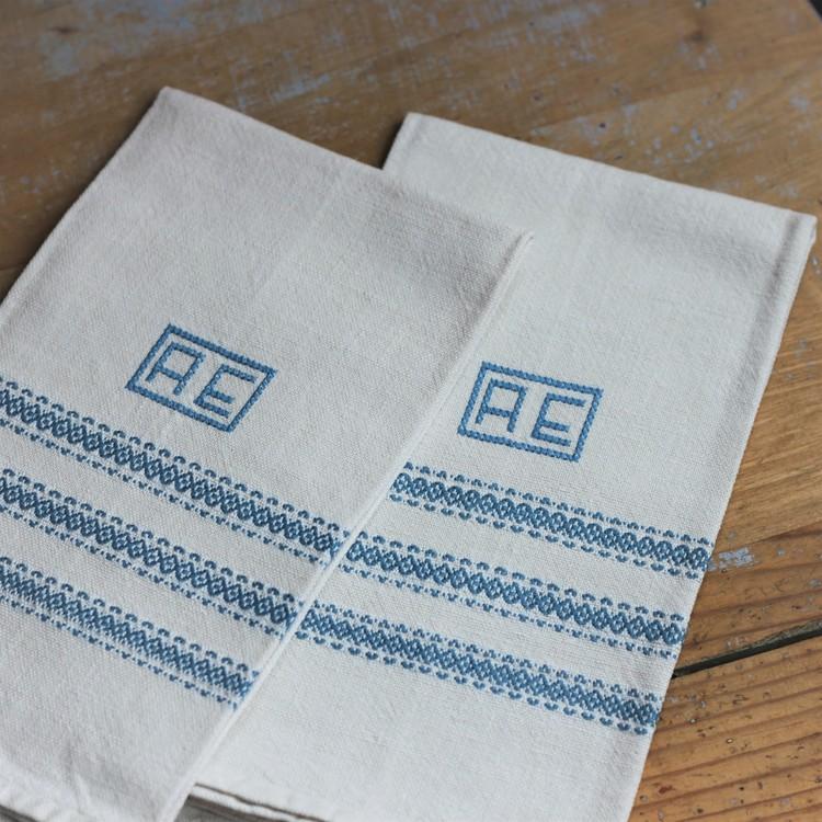 Handduk - Linne Monogram AE Blå