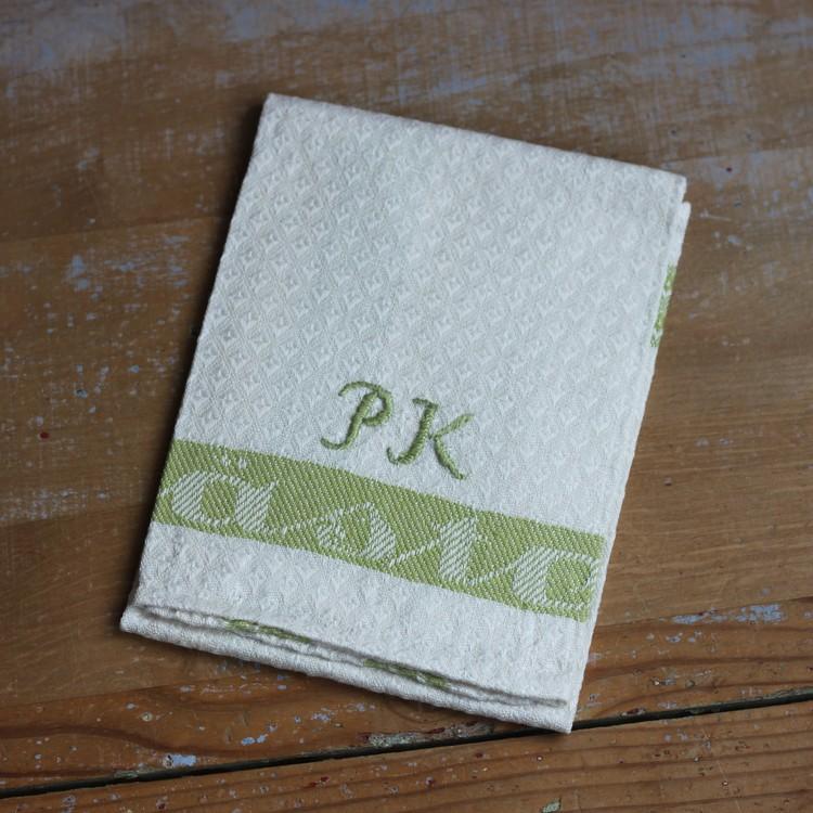 Handduk - Linne Monogram PK Grön