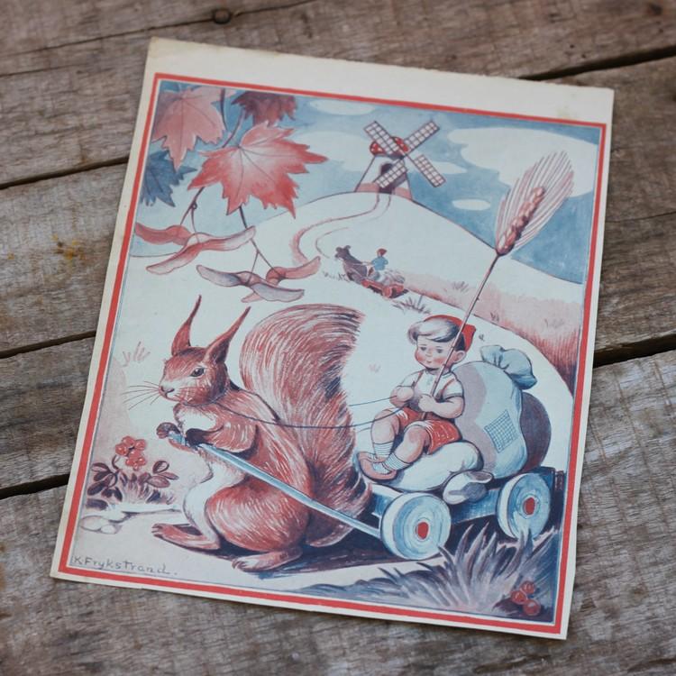 Barnkammarbild - 35 Ekorre drar vagn