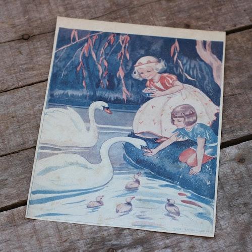 Barnkammabild - 32 Prinsessa och Prins matar svanar
