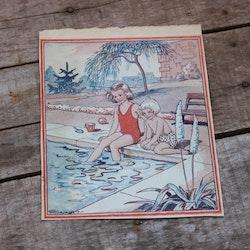 Barnkammarbild - 21 Barn vid bassängkant