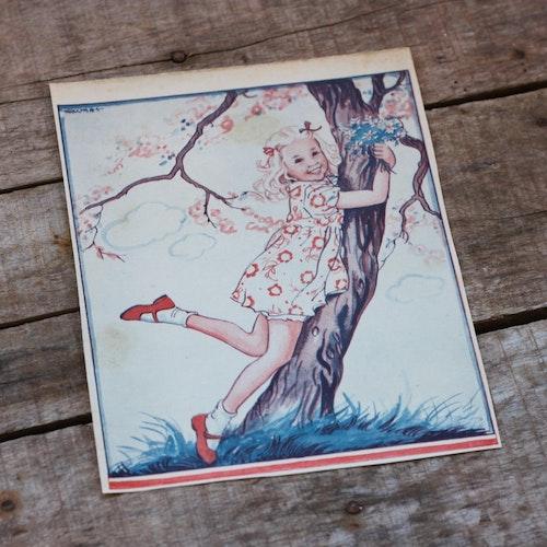 Barnkammarbild - 20 Flicka och körsbärsträd