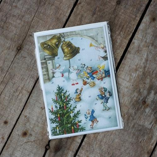 Adventskalender - Barn Änglar och Klockor, Kort med Kuvert