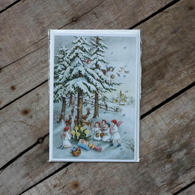 Adventskalender - Änglar matar Rådjur, Kort med Kuvert