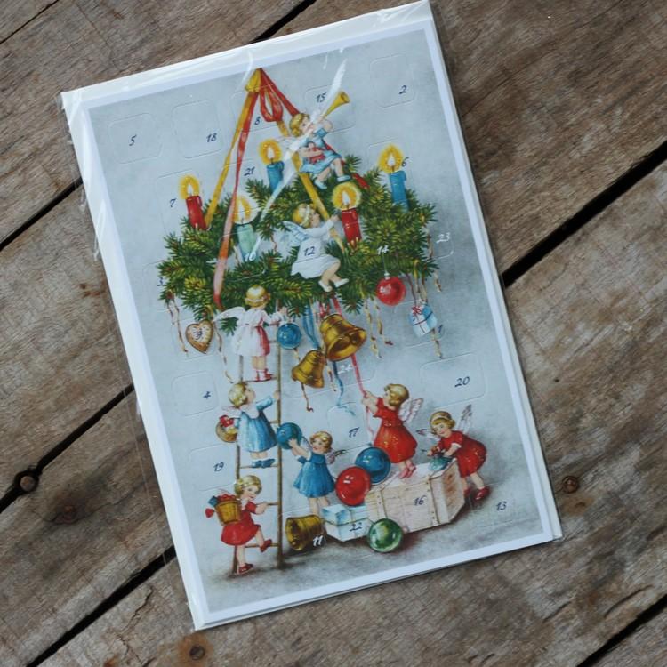 Adventskalender - Änglar klär Grankrona, Kort med Kuvert
