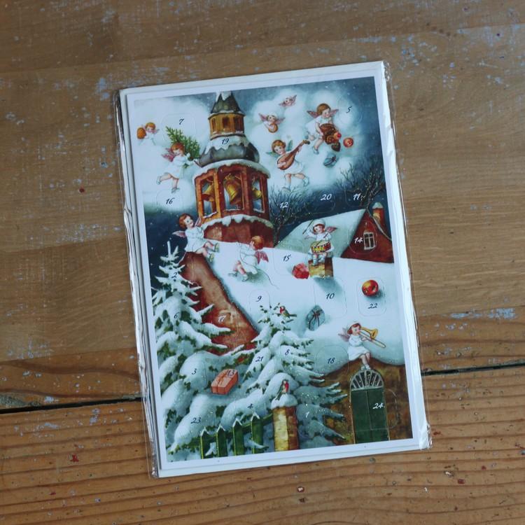Adventskalender - Änglar och Klocktorn, Kort med Kuvert