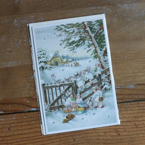 Adventskalender - Änglar Klättrar på Staket, Kort med Kuvert