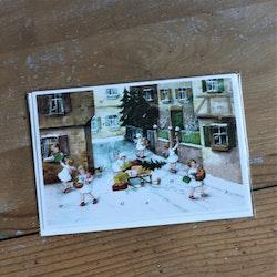 Adventskalender - Änglar delar ut Paket, Kort med Kuvert