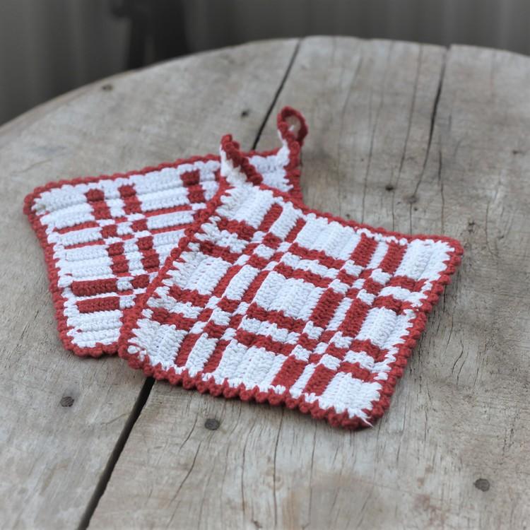 Grytlappar - Röd Vit rutiga