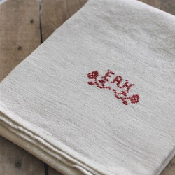 Handduk - Linne Röd Vit Monogram EAH