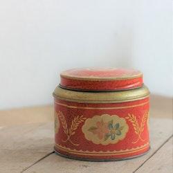 Plåtburk - Kaffeburk Röd med Blommor