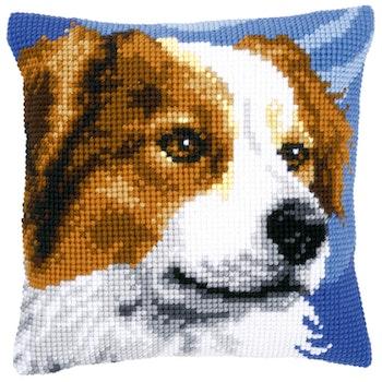 Ristipistotyyny Valkoruskea koira