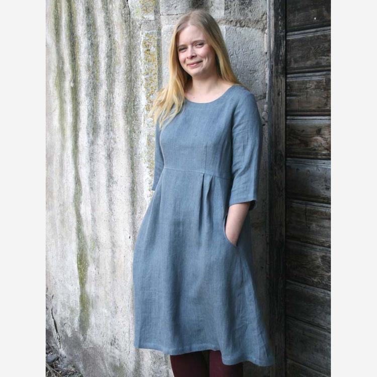 Klänning Linnetwill - gråblå