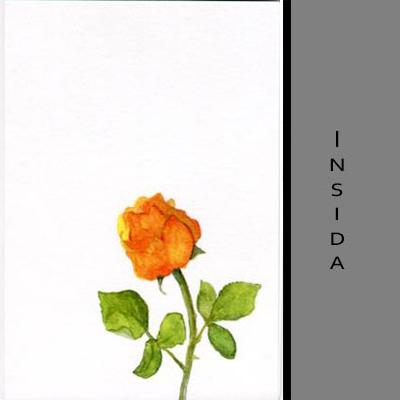 Akvarellkort - Gul ros