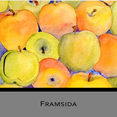 Akvarellkort - Gula äpplen