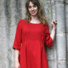 Klänning Linne röd