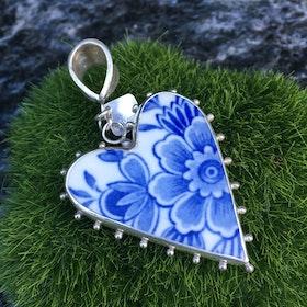 Porslinshjärta blå