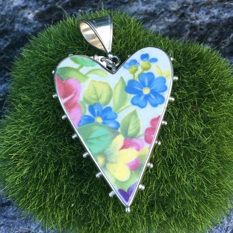 Porslinshjärta grön