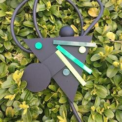 Halsband geometriskt grönt