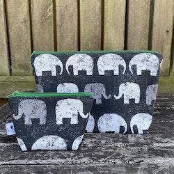Necessär elefanter grön set