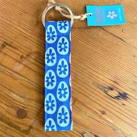 Nyckelring  blå blomma