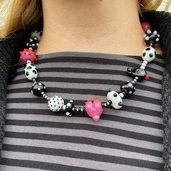 Halsband glaspärlor svart/vitt