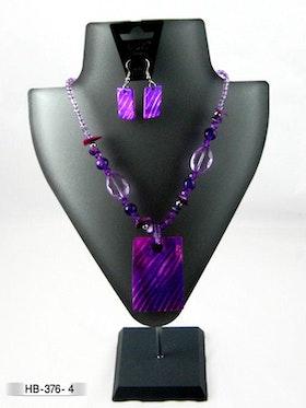 Halsband lila snäckskal med örhänge