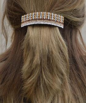 Hårspänne strass brun ton diamantformade pärlor