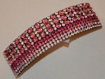 Hårspänne strass rosa ton diamantformade pärlor