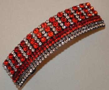 Hårspänne strass röd/vita diamantformade pärlor