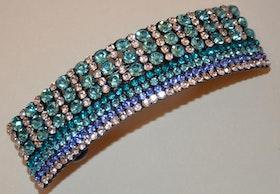 Hårspänne strass turkos ton diamantformade pärlor