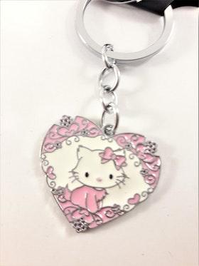 Nyckelring med Hello Kitty-motiv i rosa hjärta