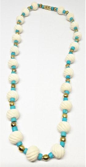 Kort halsband i turkos och vitt