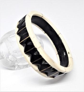 Stelt armband svart/vitt, av buffelben-/horn, C